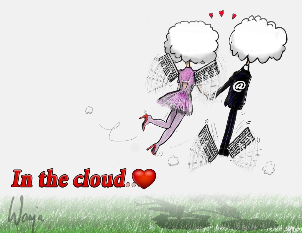 In The Cloud... Romantic Cartoon, Modern love. Cartoon, Art-Tec Animaties.